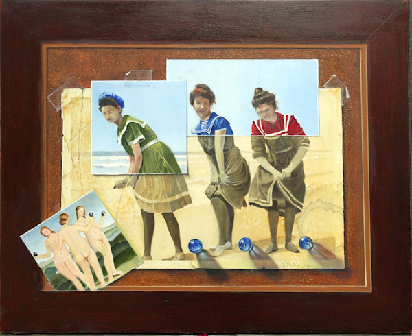 Artist Dennis Crayon uses a fascinating trompe l'oeil style in his original oil painting.