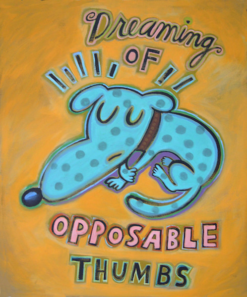 A sleeping dog dreams of having opposable thumbs in this humorous giclee print by artist Hal Mayforth.