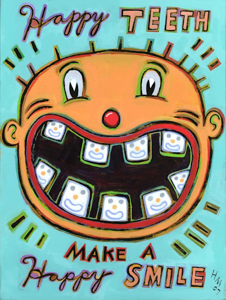 Happy Teeth Make a Happy Smile is a charming retro art print in bright colors.