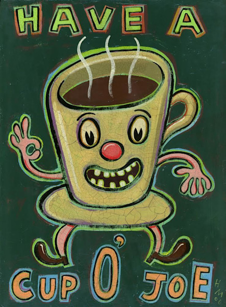 Have a Cup O'Joe is a whimsical art print perfect for a coffee lover or to place in the kitchen.