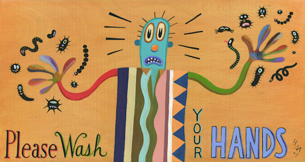 Humorous illustrator Hal Mayforth reminds us to wash our hand with this colorful and fun retro art print.
