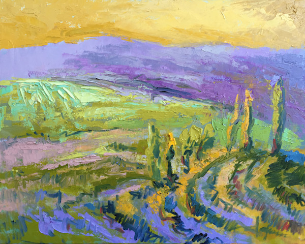 Purple Mountain Majesty | Tuscan Landscape Painting with Cypress Trees