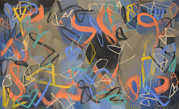 Large contemporary abstract painting is a swirl of brightly colored marks on a dark background.