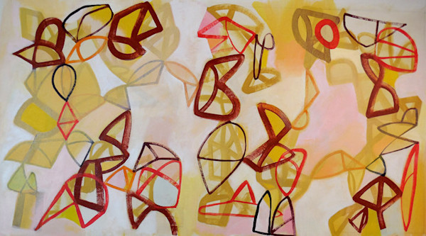 Delightful dancing shapes fill the composition in this contemporary abstract painting by artist Hal Mayforth