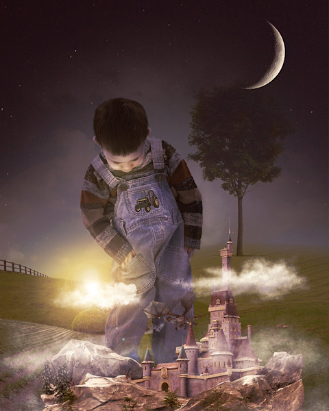 A young boy in overalls is fascinated with a tiny castle complete with dragon in this digital artwork by Kim Whittemore.