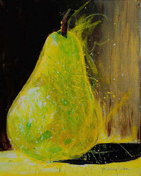 Energetic still life fine art painting of an abstract  single pear in yellow and green.