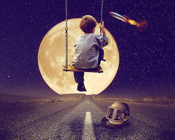 A young boy on a swing imagines himself as an astronaut in a rocket in this digital artwork by Kim Whittemore.