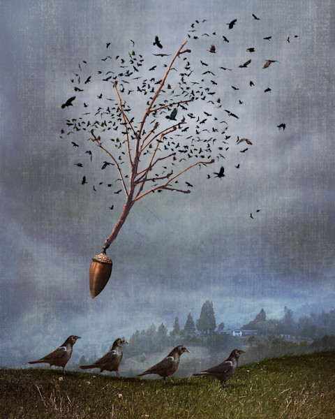 Black birds migrate in this image, some walking, some resembling leaves in a tree and flying in this digital artwork by Kim Whittemore.