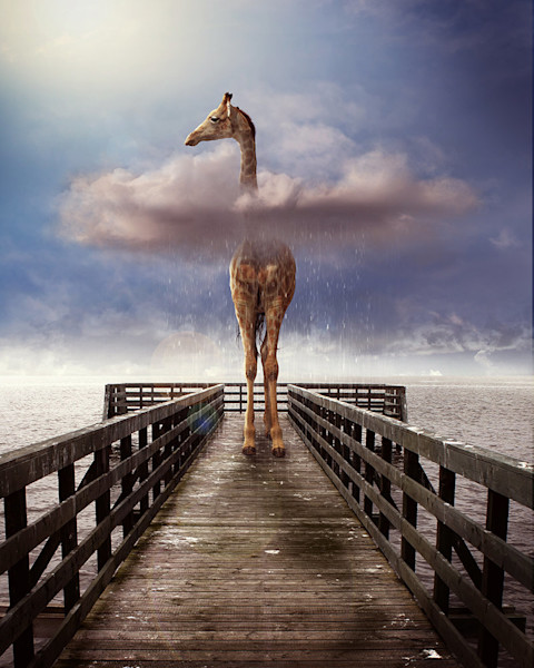 A giraffe on a pier pokes his head out of a cloud to look out over the ocean in this digital artwork by Kim Whittemore.