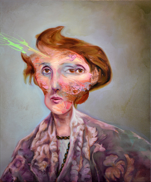Virginia Woolf painted portrait distorted