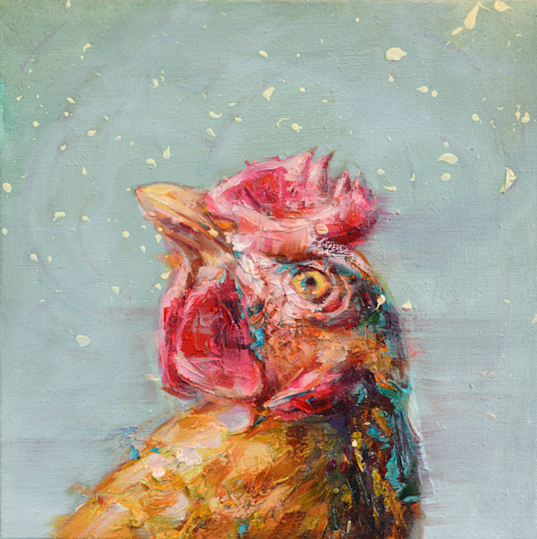 Rooster in snow portrait painting