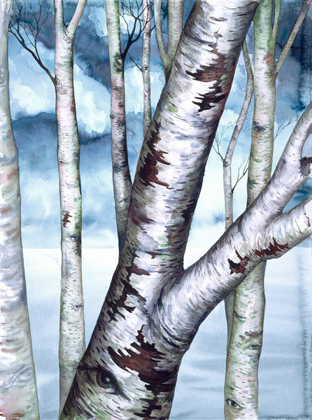 Watercolorist Helen Klebesadel offer this stunning giclee print of her original Revisions I. Birch trees in a forest on a soft watercolor background.