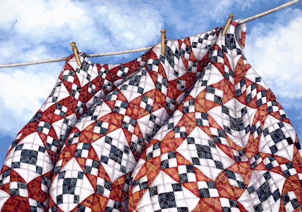 Giclee print of a watercolor showing a red, white and blue quilt billowing in the breeze.