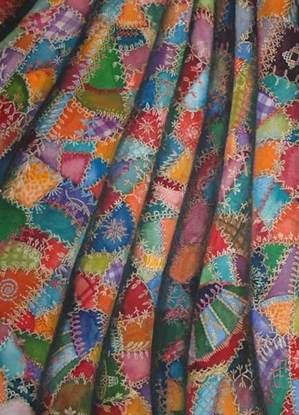 Crazy Quilt I pops with color in this beautiful giclee print on cotton rag paper by watercolor artist Helen Klebesadel