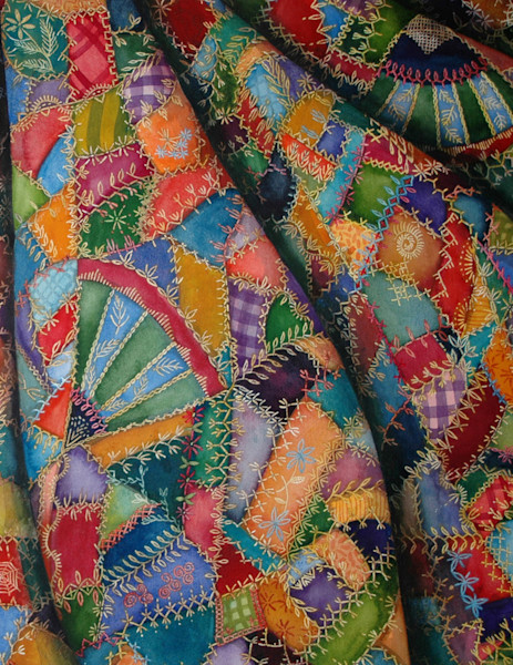 Delightful artwork shows a crazy quilt that pops with pattern and color and is part of a series of artwork.