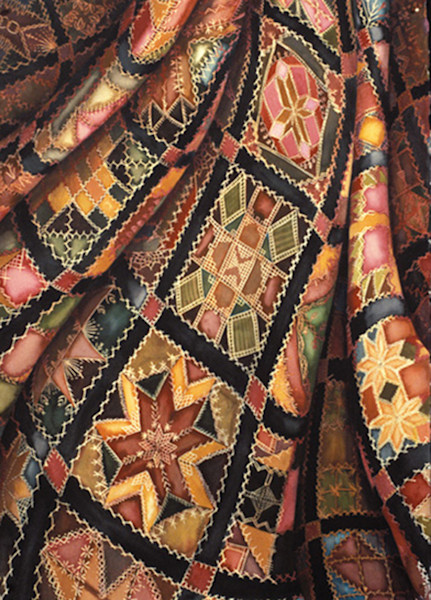 A richly colored and pattern Victorian crazy quilt is the focus of this limited edition giclee print.