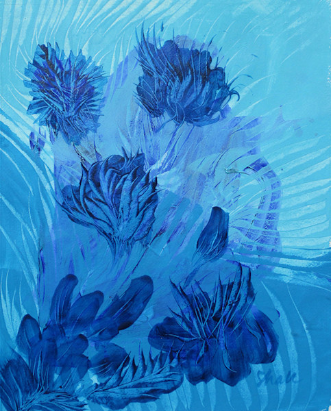 Queen of the Night is a monotoned blue acrylic painting of night-blooming Cereus cactus by artist Stephen Hall.