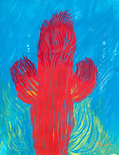 Bright contemporary cactus design is an original acrylic painting on paper by artist Stephen Hall.