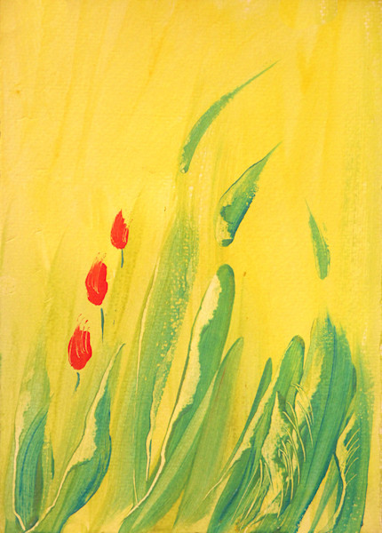 After the desert rains, these tiny flowers burst into bloom in this original acrylic painting by Stephen Hall.