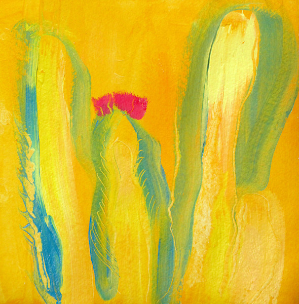 Stephen Hall's Twins shows a family of barrel cactus in Arizona in a brilliantly colored acrylic painting