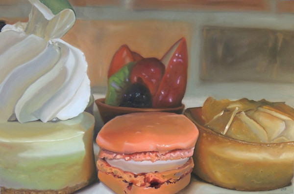 An amazing selection of decadent desserts to choose from in this painting by Jennifer Kahn Barlow.