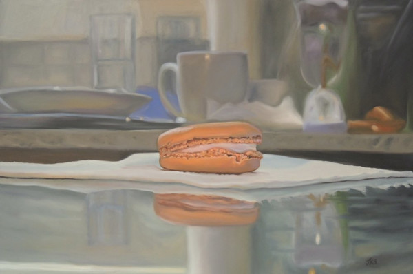 Take a pause and visually indulge in this tempting, colorful, texturally interesting confection, the French Macaron in this painting by Jennifer Kahn Barlow.