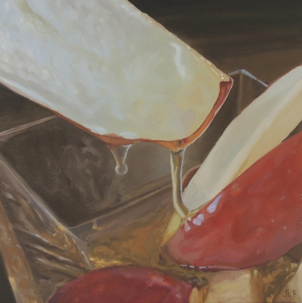 Golden honey drips off these crisp red apple slices in this painting by Jennifer Kahn Barlow