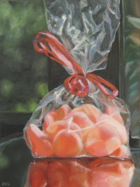 The first in a series of three paintings featuring yummy Gummy Peaches by Jennifer Kahn Barlow.