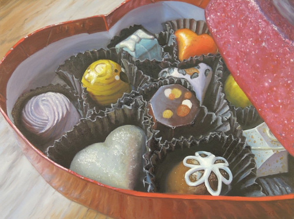 A gorgeous box of chocolates tempt the tastebuds in this painting by Jennifer Kahn Barlow.