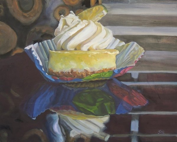 A luscious slice of cheesecake sits seductively in all it's tempting decadence in this painting by Jennifer Kahn Barlow.