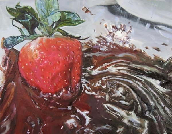 A perfect strawberry is dipped into a mouthwatering pool of chocolate in this painting by Jennifer Kahn Barlow.
