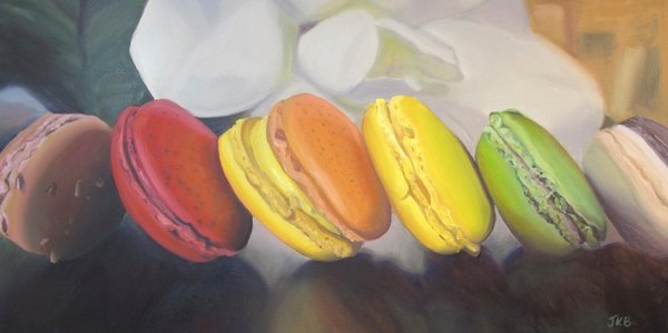 Like a cabaret line, these brightly colored French Macarons line up ready to be savored in this painting by Jennifer Kahn Barlow