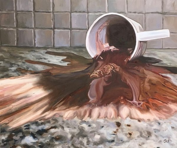 An accidental spill creates a deluge of sweet hot chocolate that flows over the counter in this painting by Jennifer Kahn Barlow.