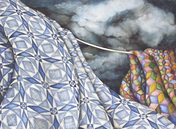 Helen Klebesadel's limited edition giclee of a couple of quilts on a line under a stormy sky is called Tossed by the Sea Storm