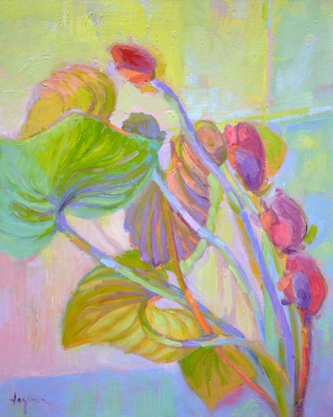 Bending Toward the Light   Original Oil Painting Orchids by Dorothy Fagan