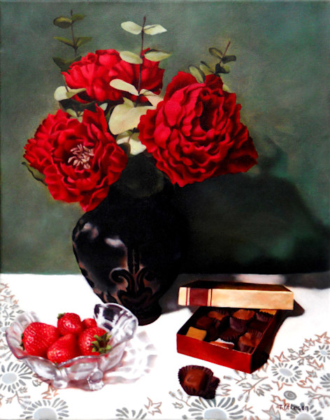 Full blossomed red roses, strawberries and chocolates send a message of love in this painting by Theresa Otteson.