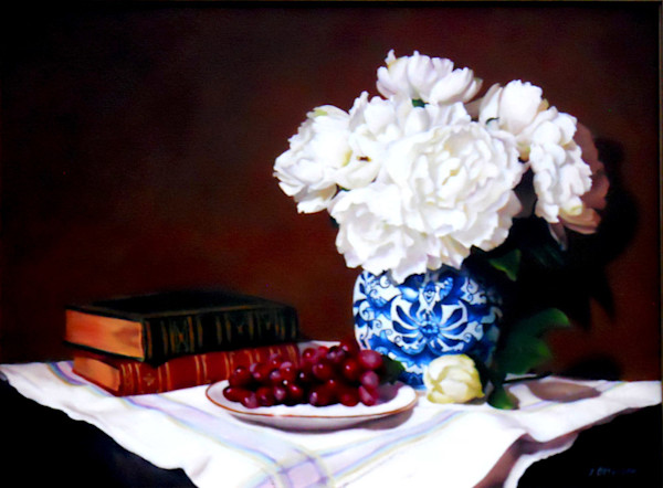Incredible white peonies steal the show in this still life in this painting by Theresa Otteson.