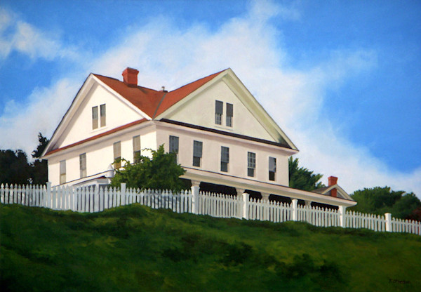 This painting by Theresa Otteson features a trim white house on a hilltop.