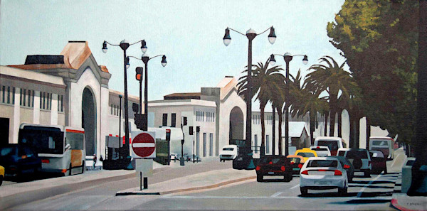 A spectacular sunlit view of San Francisco's Embarcadero in this painting by Theresa Otteson.