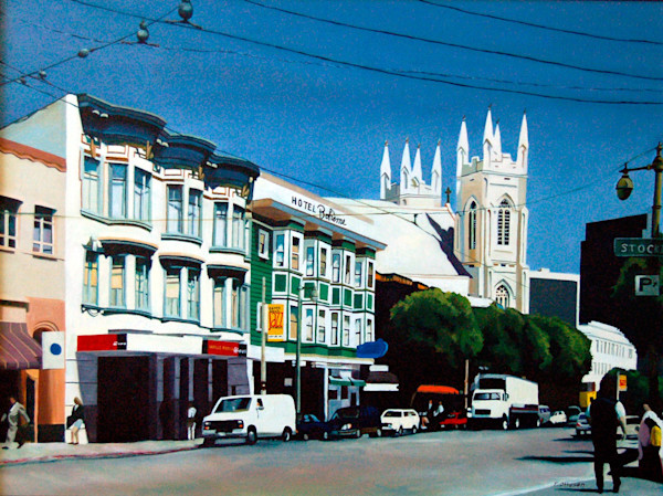 This cityscape features the Hotel Boheme in the heart of North Beach San Francisco in this painting by Theresa Otteson.