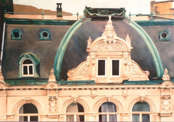 An architecturally beautiful embellished roof line in Trier, Germany in this painting by Theresa Otteson.