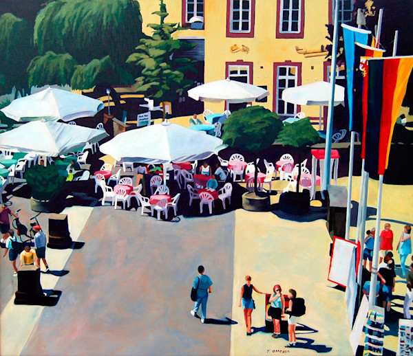 Sunlit and welcoming, the farmers market in Trier, Germany is open for business in this painting by Theresa Otteson.