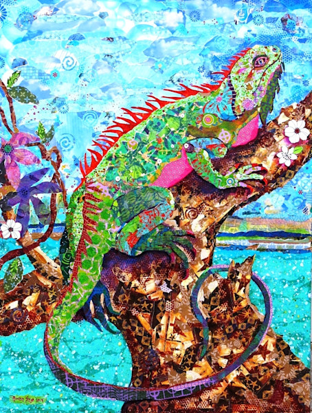 A stunning paper mosaic collage of a lizard on a on a tree by Raven Skye McDonough.