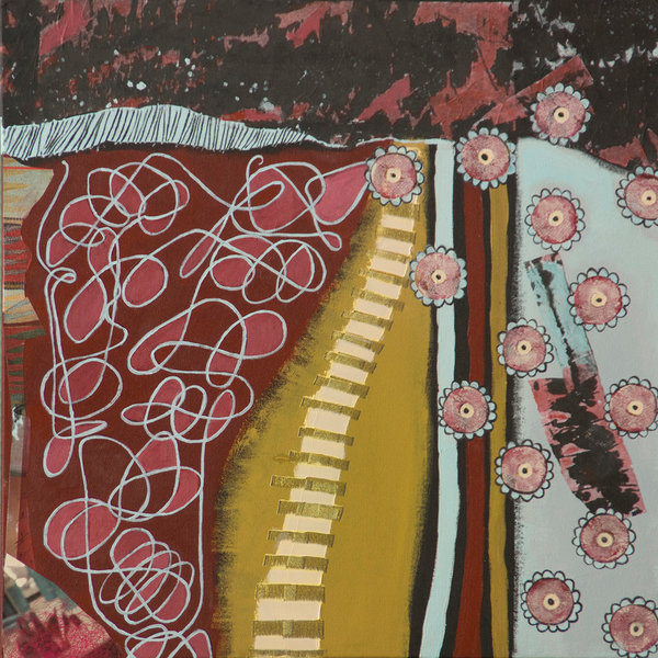 Florals, scribbles and patterns pop in this original abstract mixed media painting by Joyce Wynes