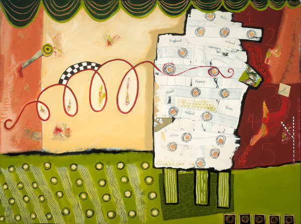 Bold and whimsical abstract about family origins by artist Joyce Wynes.
