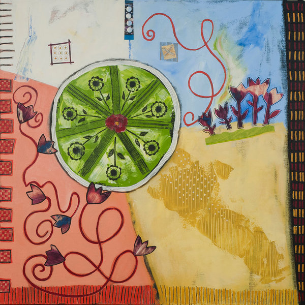 Delightful abstract painting with acrylic and mixed media features naive flowers and vibrant colors.
