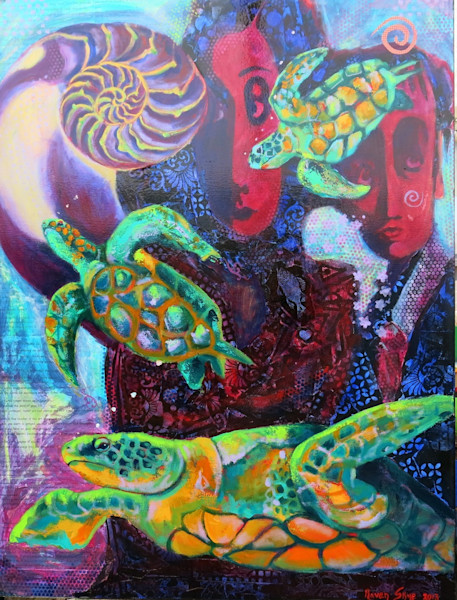 Inspired by a dream, the artist imagines herself a turtle trying to find her way out of an aquarium in this mixed media collage by Raven Skye McDonough.