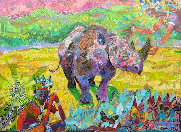 A guardian angel of the Black Rhino appears in the upper right corner in this paper mosaic collage by Raven Skye McDonough.