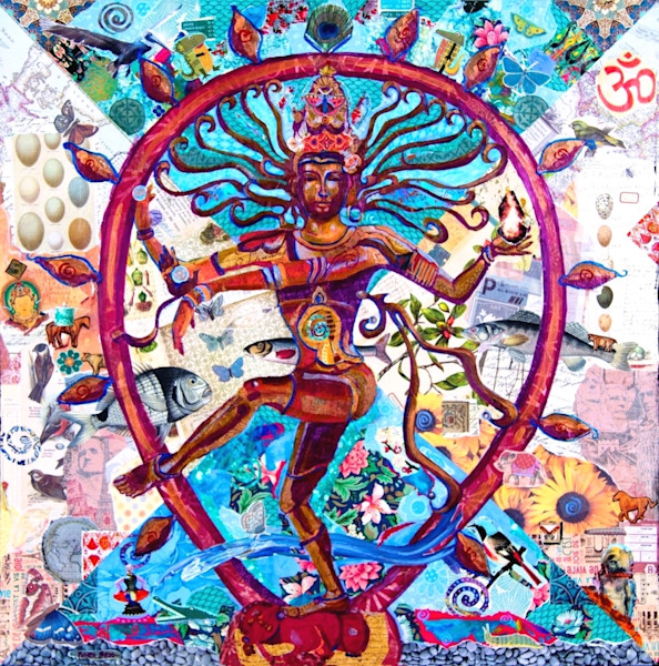 This paper mosaic collage by Raven Skye McDonough features Shiva, a major Hindu Deity.