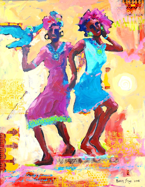 Joy and the celebration of dance lights up this mixed media collage by Raven Skye McDonough.